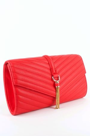 MINNIE Red Quilted Envelope Clutch Bag