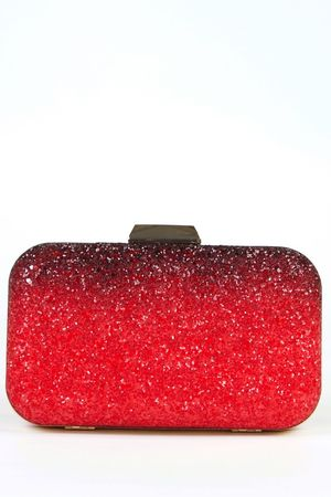 NAOMI Red Glitter Box Clutch Bag