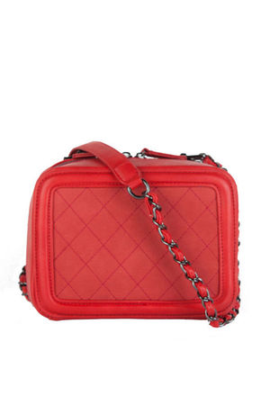 GEORGINA Red Quilted Box Bag With Chain Strap