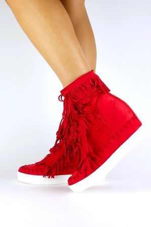BAILEY Red Fringe Wedge Sneaker