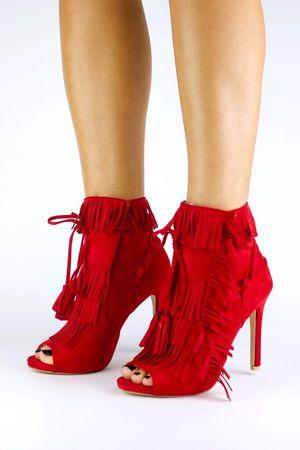 GISELLE Red Fringe Peep Toe Boots