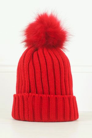 AMBER Red Faux Fur Bobble Hat