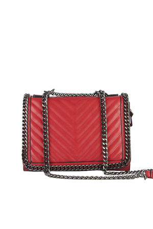 EVE Red Quilted Chain Cross Body Bag