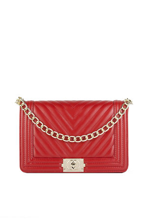 MOLLY Red Quilted Chain Shoulder Bag With Gold Detail