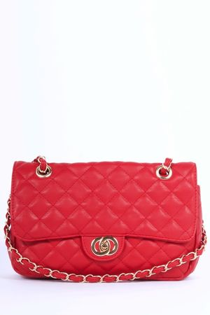 LILLY Red Quilted Chain Bag