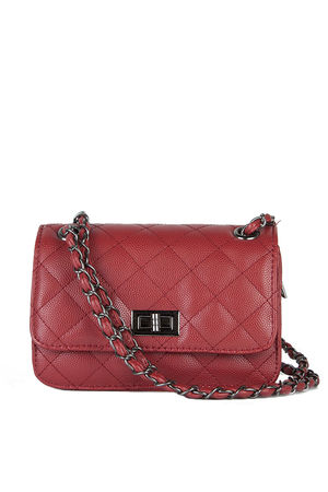 LEAH Red Quilted Bag With Chain Detail