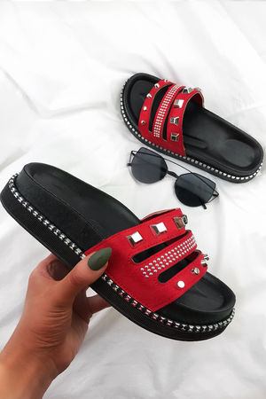 PELLA Red Stud Sliders With Silver Detail