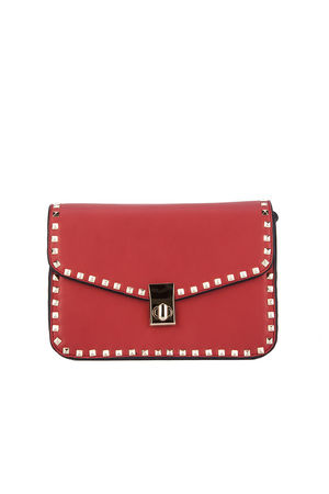 MARCELLA Red Stud Detail Handbag