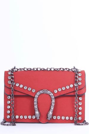MICA Red Snake Jewel Shoulder Bag