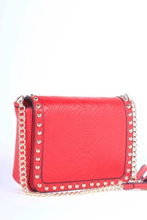 LUCILLE Red Stud Faux Leather Shoulder Bag