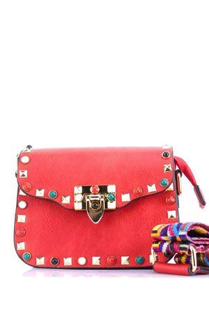 MAYA Red Stud Shoulder Bag
