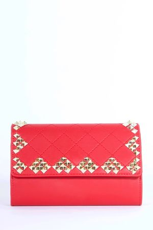 ELISE Red Stud Quilted Clutch Bag