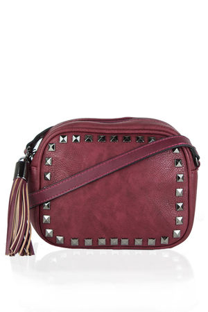 KYLA Burgundy Studded Crossbody Bag