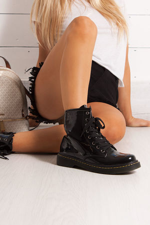 ROBYN Black Lace up Ankle Boots