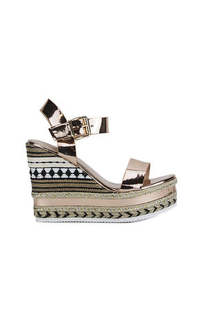 KESHA Rose Gold Metallic Aztec Wedges