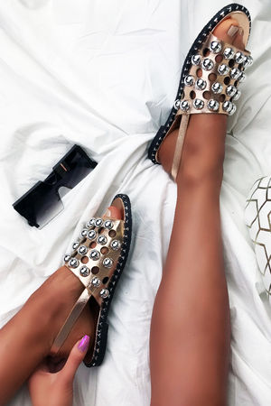 NICOLE Rose Gold Sandals With Silver Detail