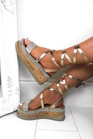 ESME Rose Gold Diamante Wrap Up Flatforms