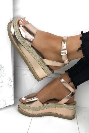 HARLOW Rose Gold Espadrille Flatforms