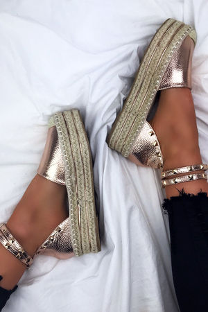 BONITA Rose Gold Espadrille Flatforms With Stud Detail