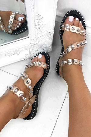 ARIEL Rose Gold Stud Sandals With Silver Detail