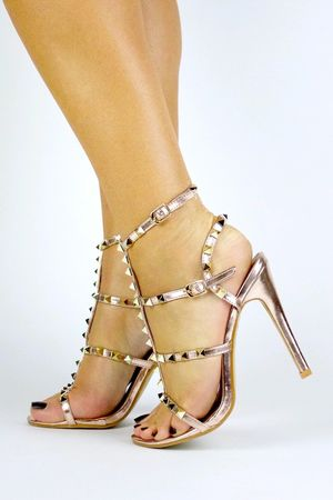 SELINA Rose Gold Stud Strappy Heels