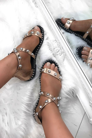 ATHENA Rose Gold Stud Sandals With Silver Detail