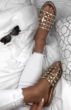 VENUS Rose Gold Stud Slider Sandals With Silver Detail