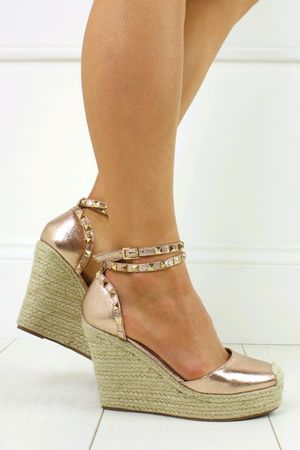 KATERINA  Rose Gold Shimmer Studded Stacked Espadrille Wedges