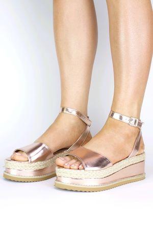 SAHARA Rose Gold Espadrille Flatform Sandal