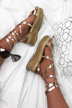 INDIGO Rose Gold Wrap Up Espadrille Flatforms