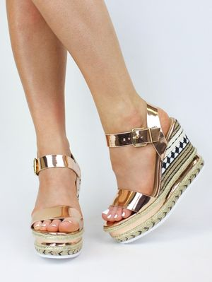 CALLY Rose Gold Metallic Wedge