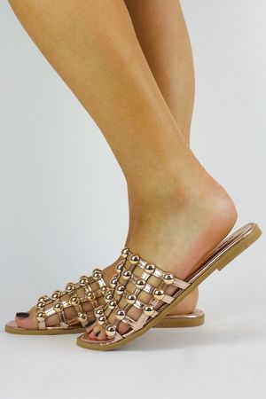KAYA Rose Gold Bauble Mule Sandal