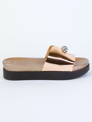LEXI Rose Gold Metallic Sliders