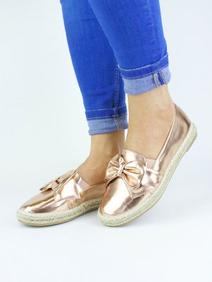CIARA Rose Gold Espadrille Bow Pump