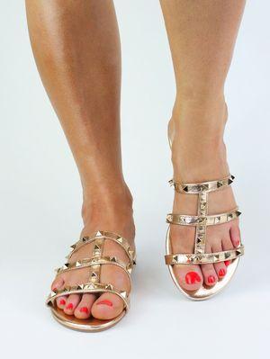 NATALIA Rose Gold Stud Mule Sandal