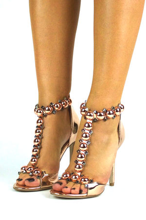 FAITH Rose Gold Studded Heels