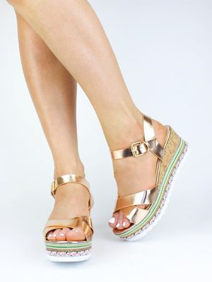 MORGAN Rose Gold Metallic Braided Sandal