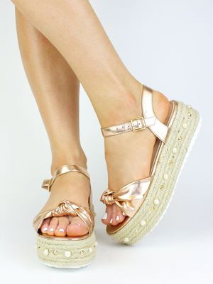 HARLEY Rose Gold Bow And Pearl Espadrille