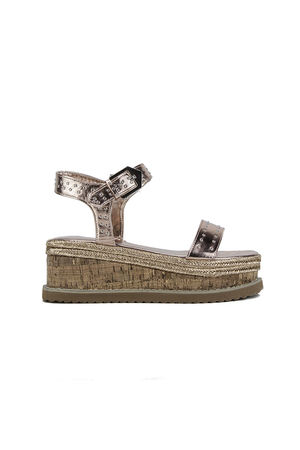KOKO Rose Gold Flatform Sandals With Silver Detail