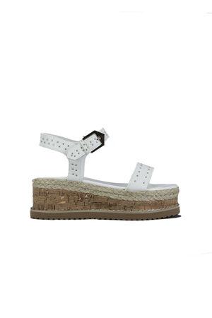 KOKO White Stud Flatform Sandals With Silver Detail