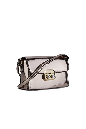 MISSY Rose Gold Metallic Shoulder Bag With Pearl Detail