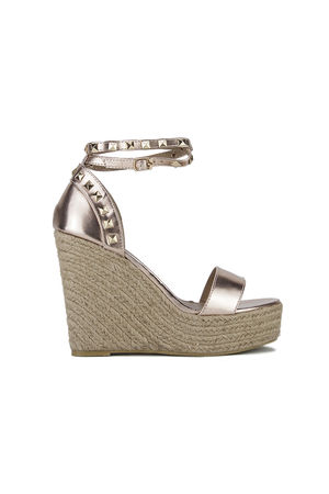 BINKY Rose Gold Stud Espadrille Wedges