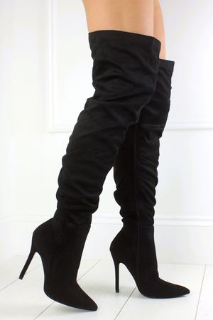 KRISTINA Black Ruched Over Knee Boot