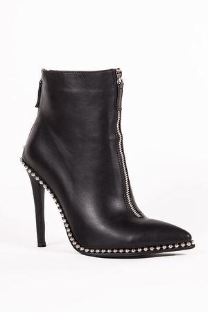 SADIE Black Zip Front Stiletto Stud Boots