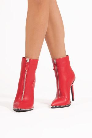 SADIE Red Zip Front Stiletto Stud Boots
