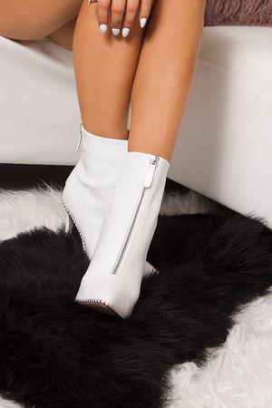 SADIE White Zip Front Stiletto Stud Boots