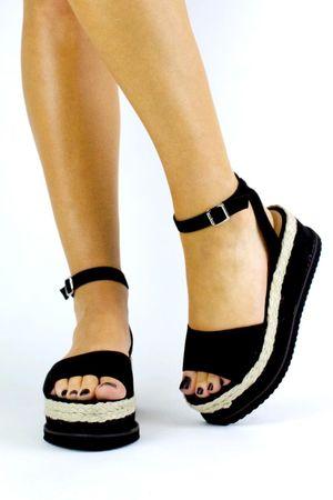 SAHARA Black Espadrille Flatform Sandal
