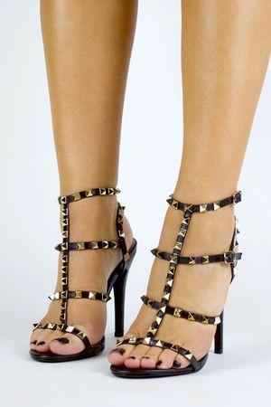 SELINA Black Stud Strappy Heels