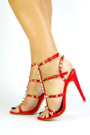 SELINA Red Stud Strappy Heels
