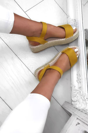SERA Yellow Espadrille Flatforms